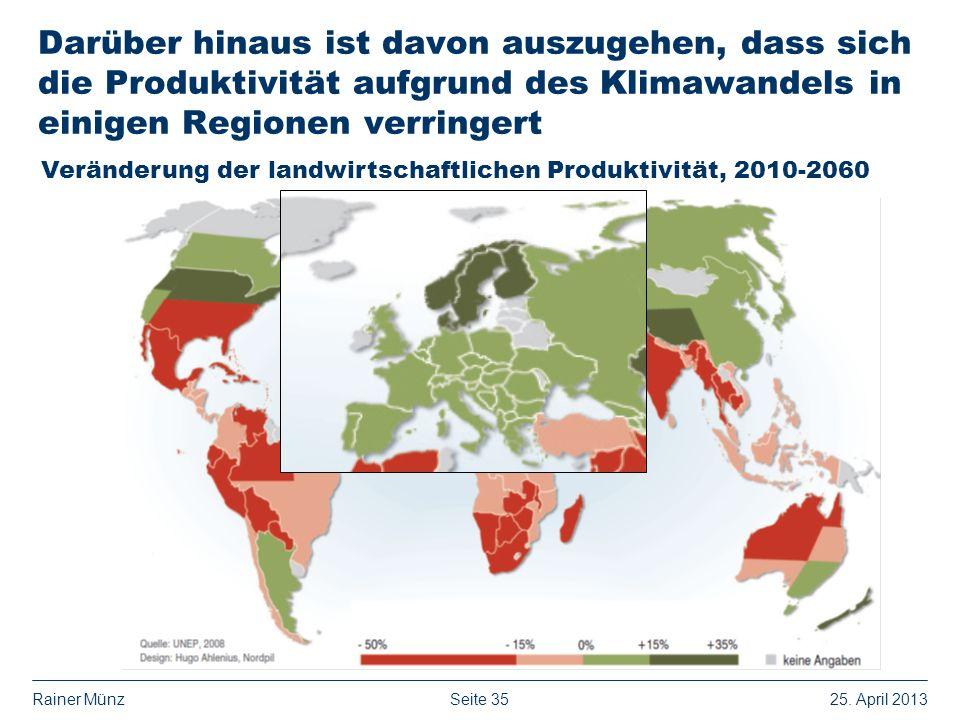 Seite 3525. April 2013Rainer Münz Darüber hinaus ist davon auszugehen, dass sich die Produktivität aufgrund des Klimawandels in einigen Regionen verri