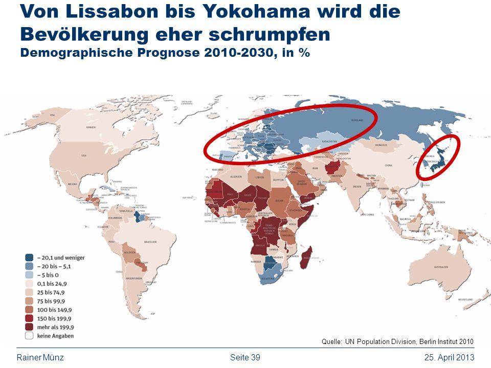 Seite 3925. April 2013Rainer Münz Quelle: UN Population Division, Berlin Institut 2010 Von Lissabon bis Yokohama wird die Bevölkerung eher schrumpfen