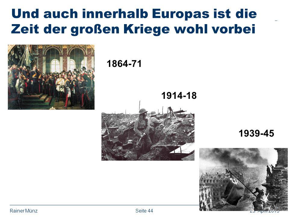 Seite 4425. April 2013Rainer Münz Und auch innerhalb Europas ist die Zeit der großen Kriege wohl vorbei 1864-71 1914-18 1939-45
