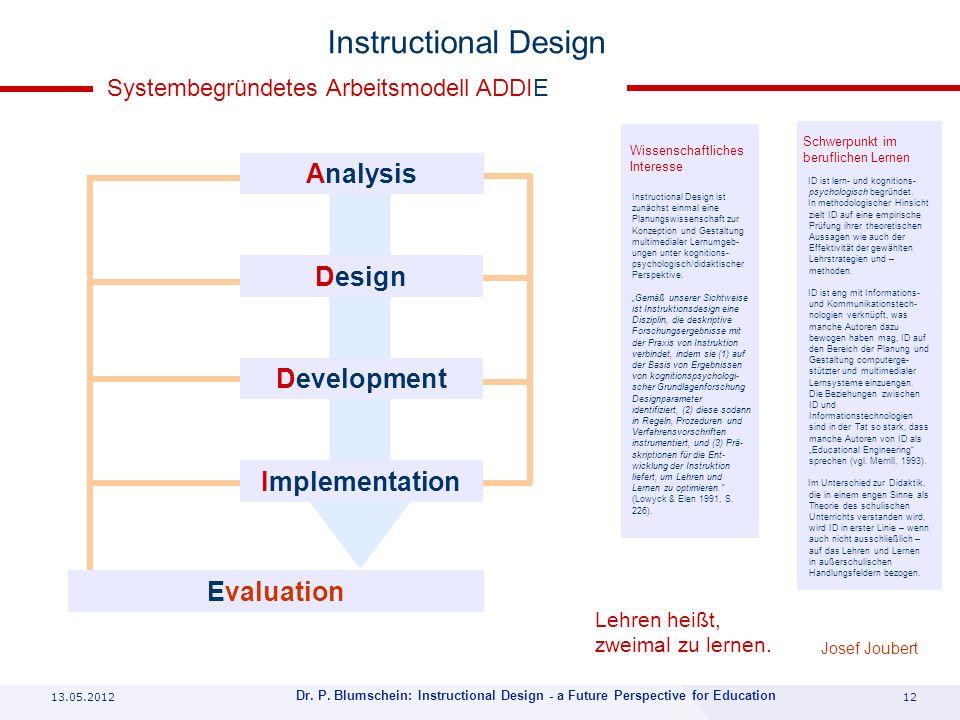 13.05.201212 Dr. P. Blumschein: Instructional Design - a Future Perspective for Education Instructional Design Analysis Design Development Implementat