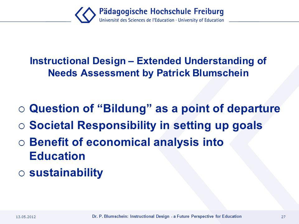 13.05.201227 Dr. P. Blumschein: Instructional Design - a Future Perspective for Education Instructional Design – Extended Understanding of Needs Asses