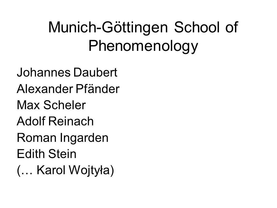 Munich-Göttingen School of Phenomenology Johannes Daubert Alexander Pfänder Max Scheler Adolf Reinach Roman Ingarden Edith Stein (… Karol Wojtyła)