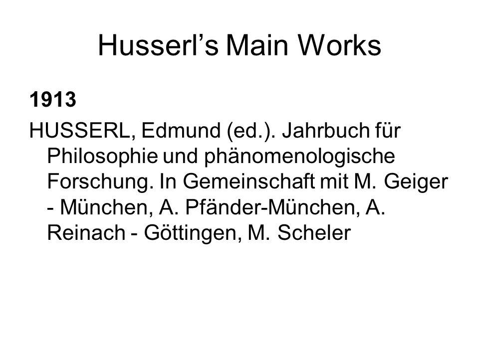 Husserls Main Works 1913 HUSSERL, Edmund (ed.). Jahrbuch für Philosophie und phänomenologische Forschung. In Gemeinschaft mit M. Geiger - München, A.