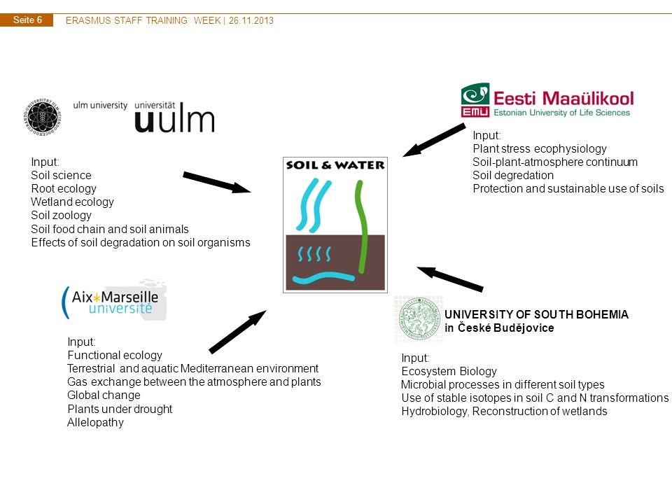 ERASMUS STAFF TRAINING WEEK | 26.11.2013 Seite 7 ERASMUS Intensive Programm IP Soil & Water - What is the structure of the IP.