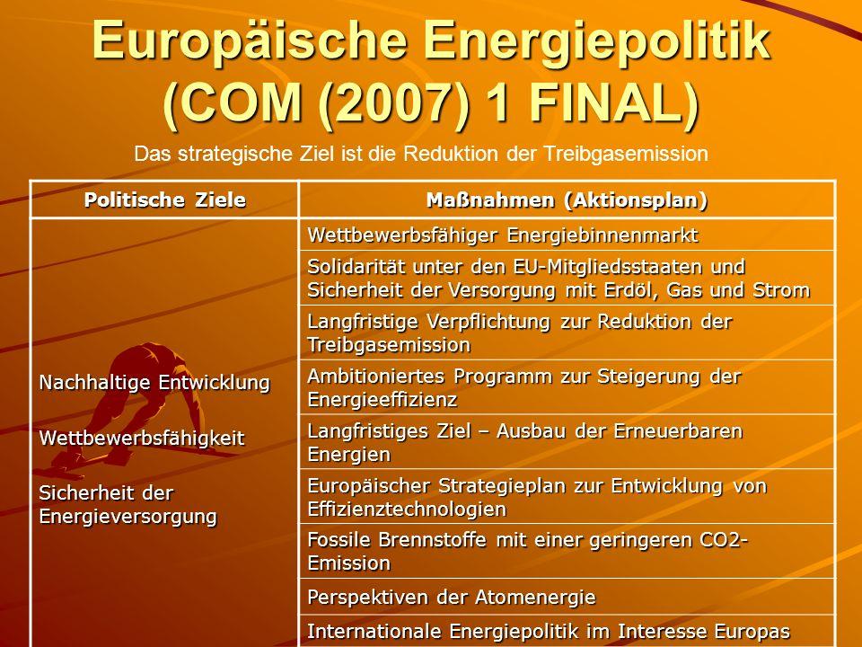 Europäische Energiepolitik (COM (2007) 1 FINAL) Politische Ziele Maßnahmen (Aktionsplan) Nachhaltige Entwicklung Wettbewerbsfähigkeit Sicherheit der E