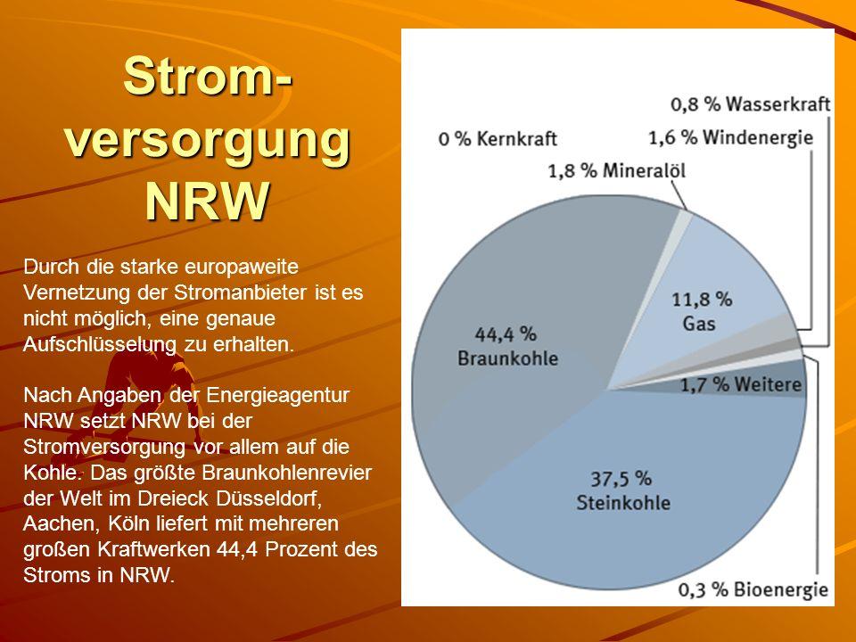 Strom- versorgung NRW Durch die starke europaweite Vernetzung der Stromanbieter ist es nicht möglich, eine genaue Aufschlüsselung zu erhalten. Nach An