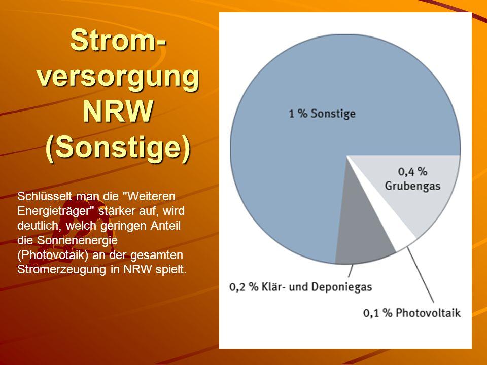 Strom- versorgung NRW (Sonstige) Schlüsselt man die