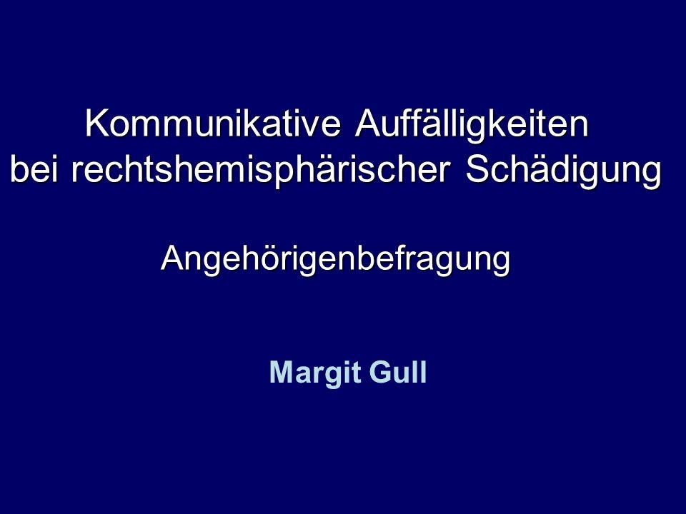 ULG Speech and Language Facilitation Margit Gull Ergebnisse III Einfluss der Zeitspanne –Gruppensplitting post-onset-time 26 Wochen (n = 13) Md 9 (6-26) post-onset-time > 26 Wochen (n = 10) Md 177 (42-1493) – keine signifikanten Unterschiede Berechnungen mit dem Mann-Whitney-U Test für unverbundene Stichproben.