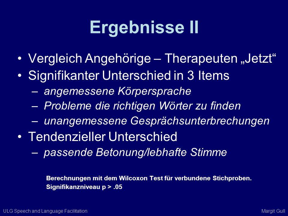 ULG Speech and Language Facilitation Margit Gull Ergebnisse II Vergleich Angehörige – Therapeuten Jetzt Signifikanter Unterschied in 3 Items – angemes