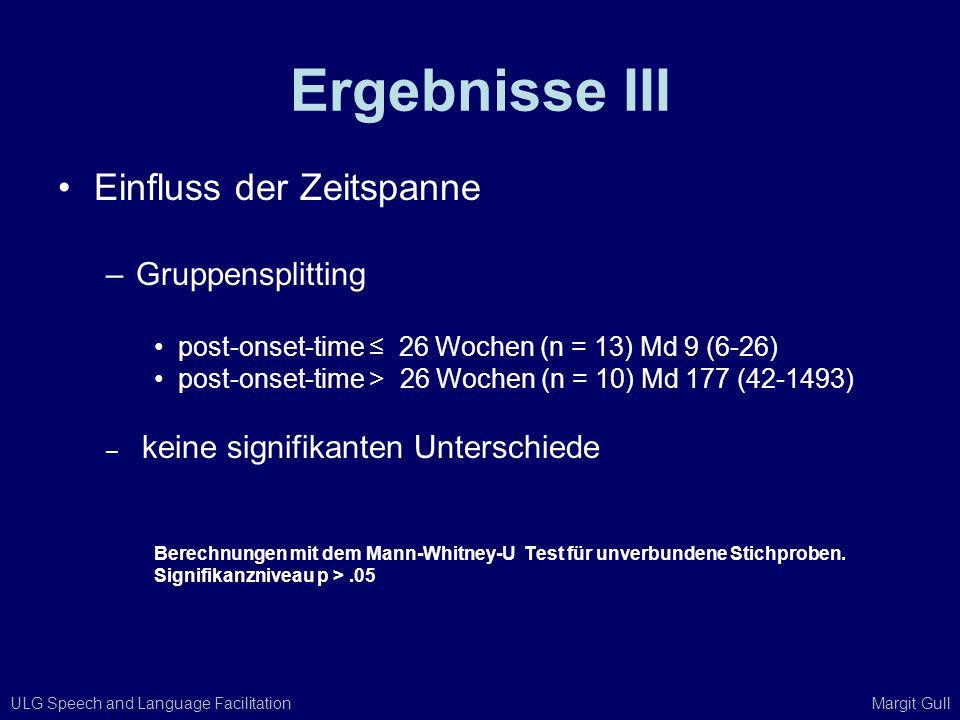 ULG Speech and Language Facilitation Margit Gull Ergebnisse III Einfluss der Zeitspanne –Gruppensplitting post-onset-time 26 Wochen (n = 13) Md 9 (6-2