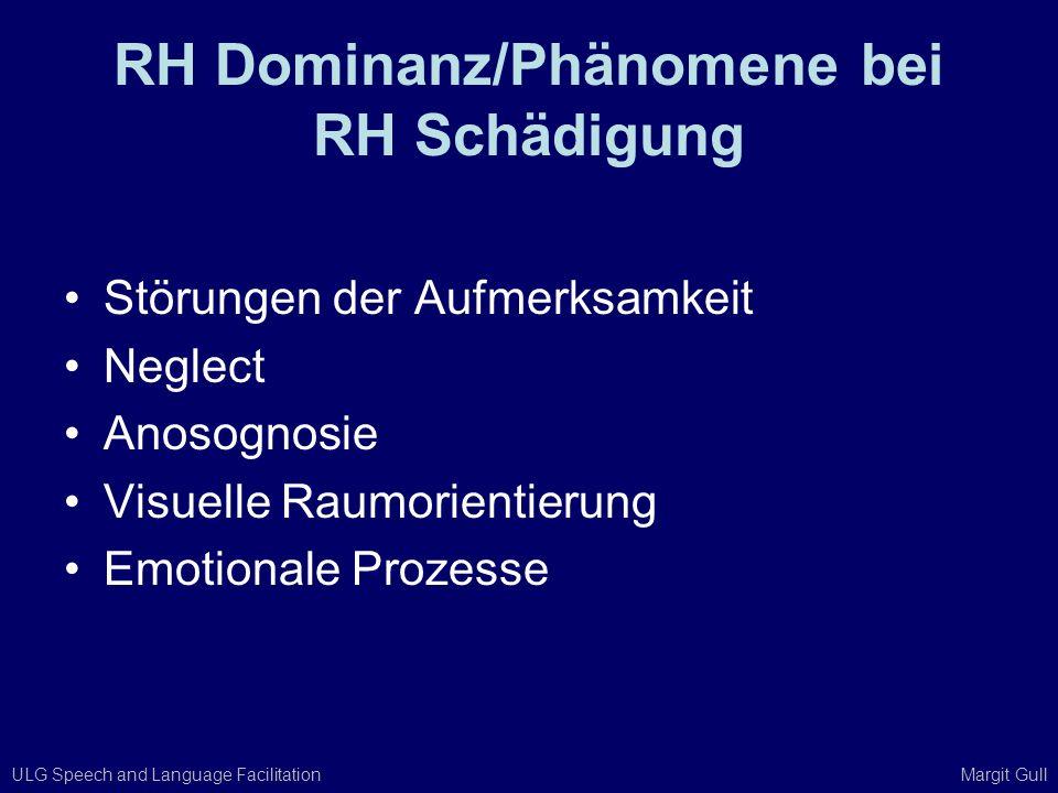ULG Speech and Language Facilitation Margit Gull RH Dominanz/Phänomene bei RH Schädigung Störungen der Aufmerksamkeit Neglect Anosognosie Visuelle Rau