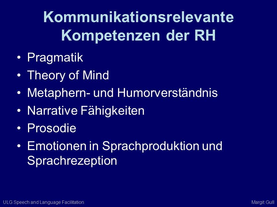 ULG Speech and Language Facilitation Margit Gull Kommunikationsrelevante Kompetenzen der RH Pragmatik Theory of Mind Metaphern- und Humorverständnis N