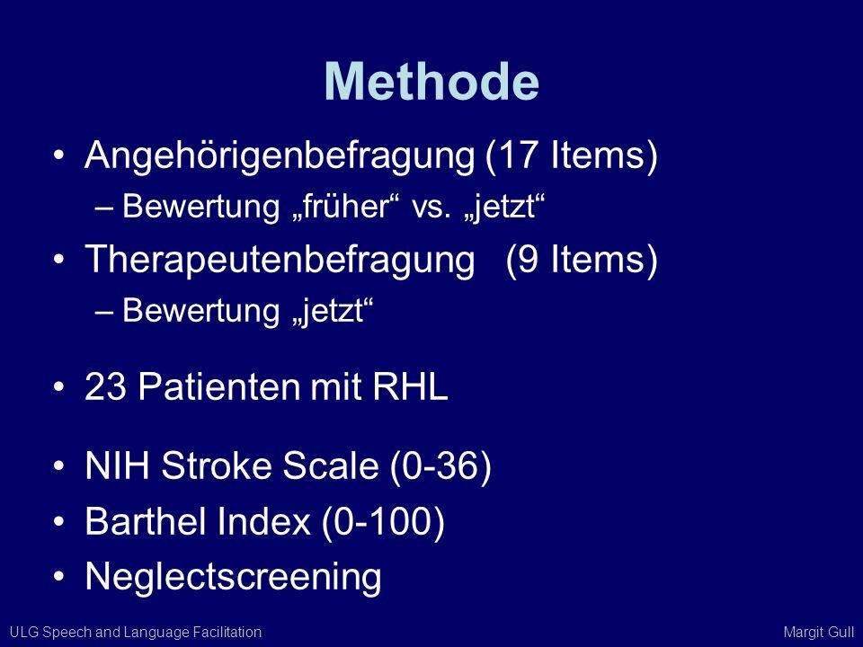 ULG Speech and Language Facilitation Margit Gull Methode Angehörigenbefragung (17 Items) –Bewertung früher vs. jetzt Therapeutenbefragung (9 Items) –B