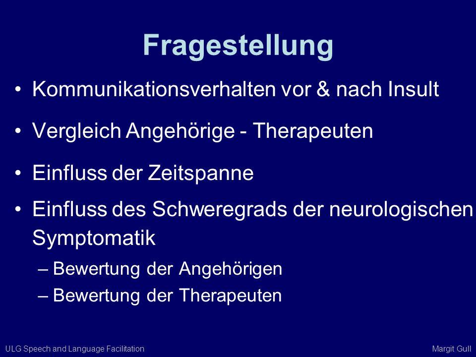 ULG Speech and Language Facilitation Margit Gull Fragestellung Kommunikationsverhalten vor & nach Insult Vergleich Angehörige - Therapeuten Einfluss d