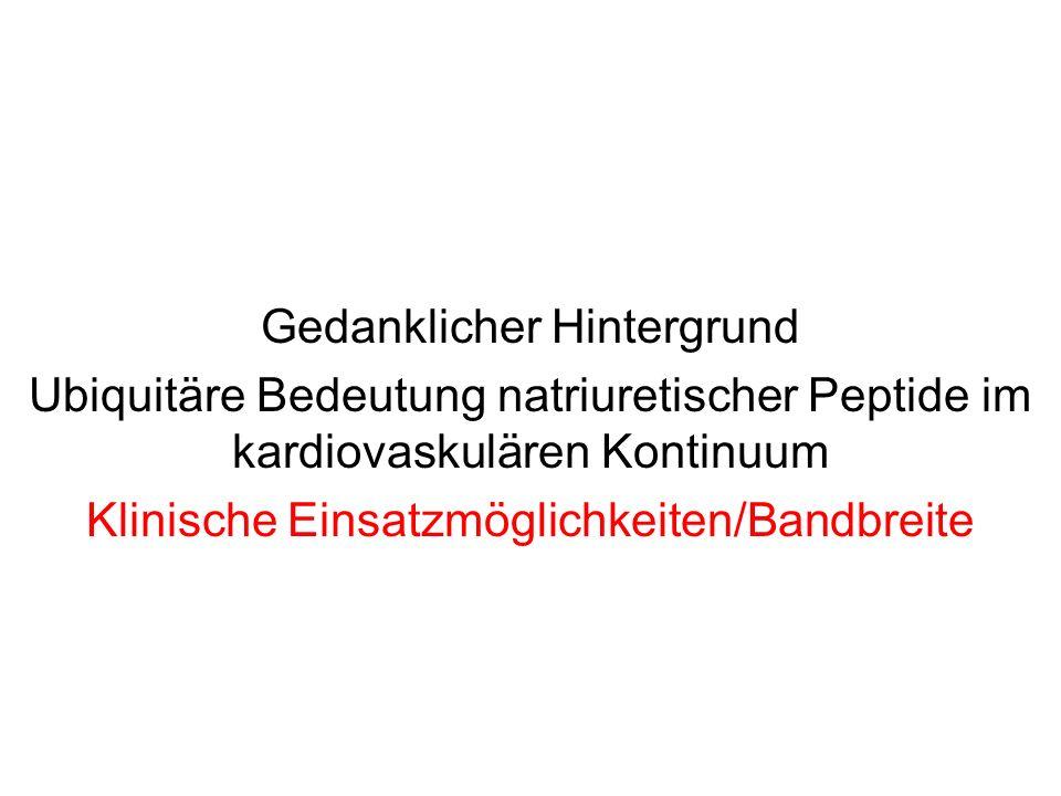 Gedanklicher Hintergrund Ubiquitäre Bedeutung natriuretischer Peptide im kardiovaskulären Kontinuum Klinische Einsatzmöglichkeiten/Bandbreite
