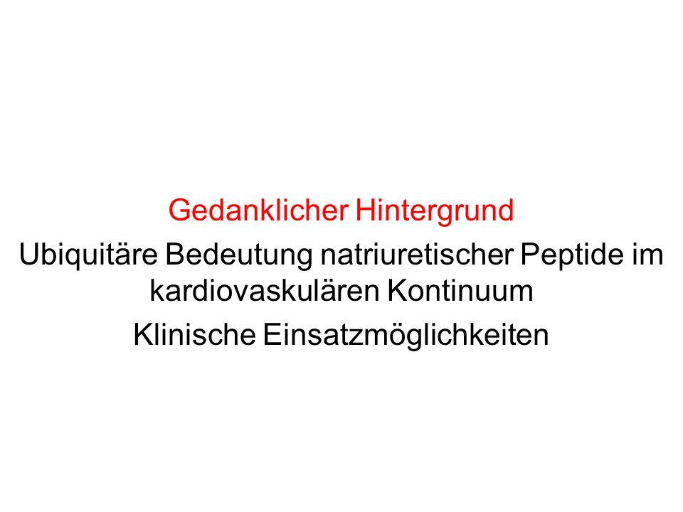 Gedanklicher Hintergrund Ubiquitäre Bedeutung natriuretischer Peptide im kardiovaskulären Kontinuum Klinische Einsatzmöglichkeiten