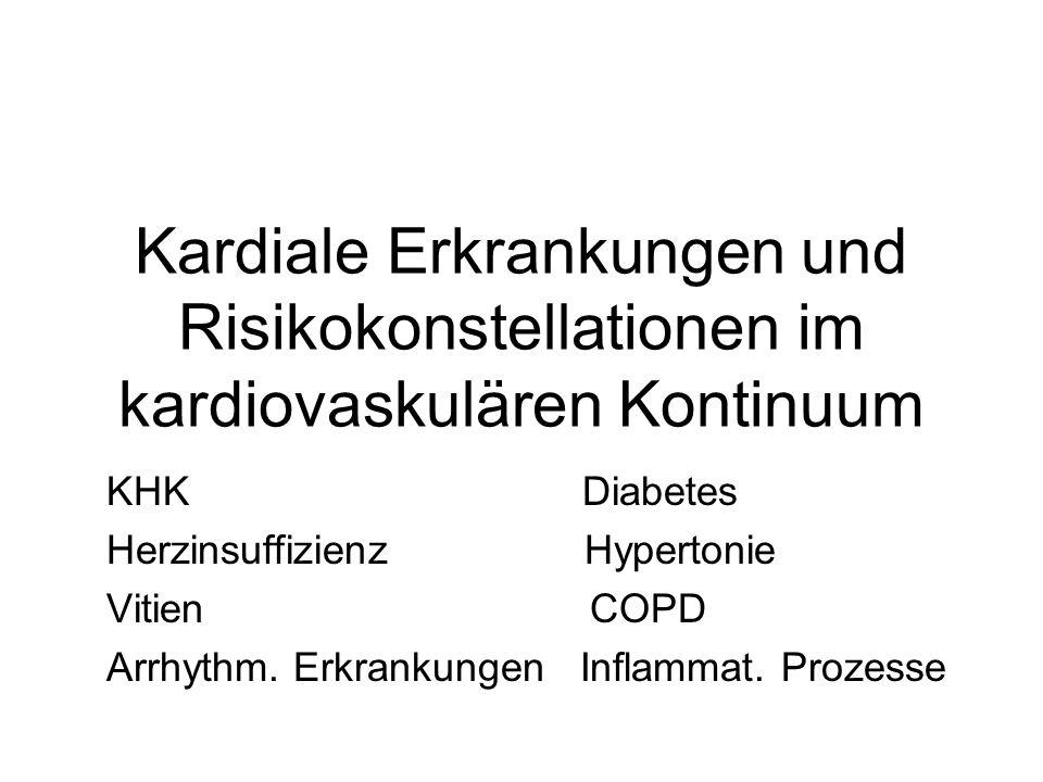 Kardiale Erkrankungen und Risikokonstellationen im kardiovaskulären Kontinuum KHK Diabetes Herzinsuffizienz Hypertonie Vitien COPD Arrhythm. Erkrankun