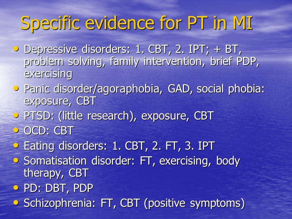 Specific evidence for PT in MI Depressive disorders: 1.