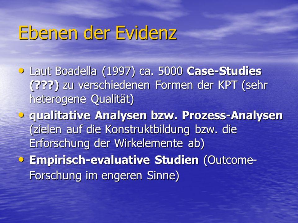 Ebenen der Evidenz Laut Boadella (1997) ca. 5000 Case-Studies (???) zu verschiedenen Formen der KPT (sehr heterogene Qualität) Laut Boadella (1997) ca