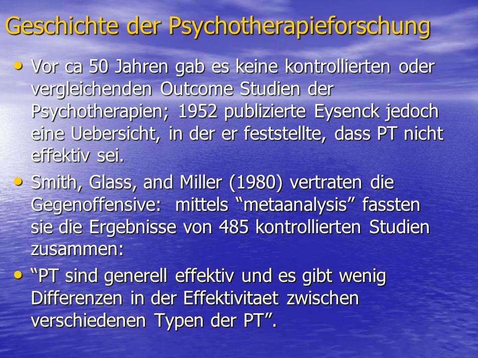 Geschichte der Psychotherapieforschung Vor ca 50 Jahren gab es keine kontrollierten oder vergleichenden Outcome Studien der Psychotherapien; 1952 publ