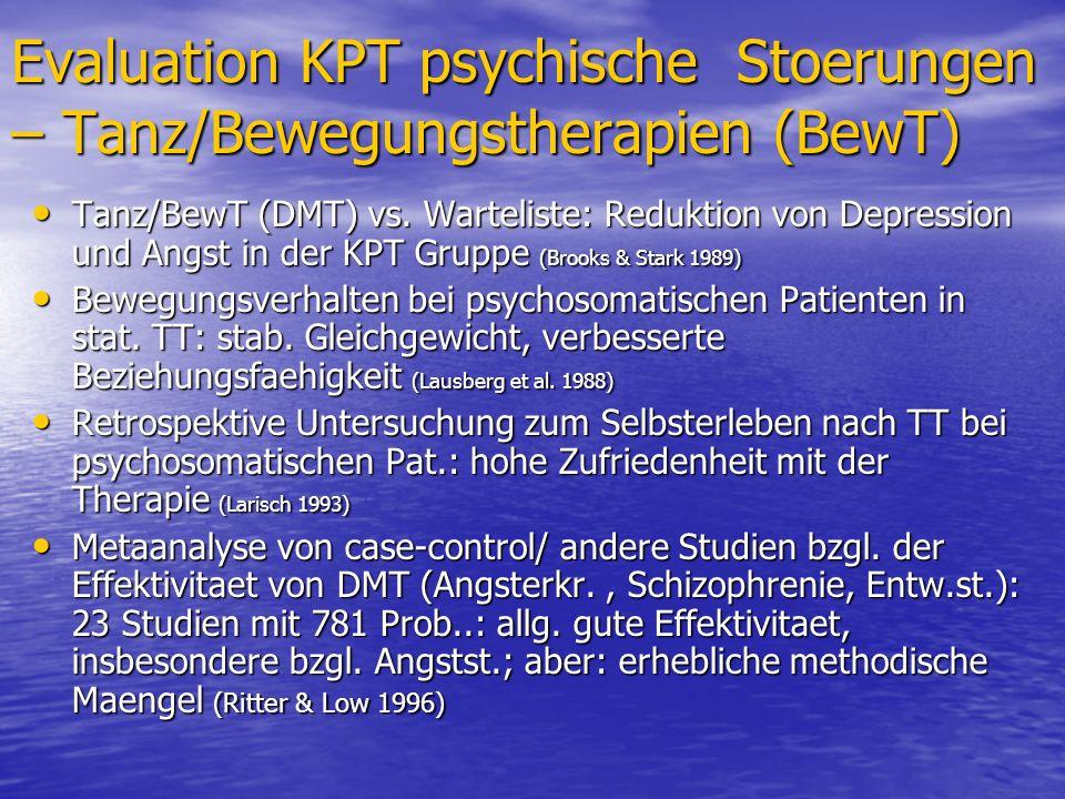 Evaluation KPT psychische Stoerungen – Tanz/Bewegungstherapien (BewT) Tanz/BewT (DMT) vs. Warteliste: Reduktion von Depression und Angst in der KPT Gr
