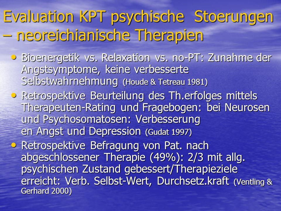 Evaluation KPT psychische Stoerungen – neoreichianische Therapien Bioenergetik vs. Relaxation vs. no-PT: Zunahme der Angstsymptome, keine verbesserte