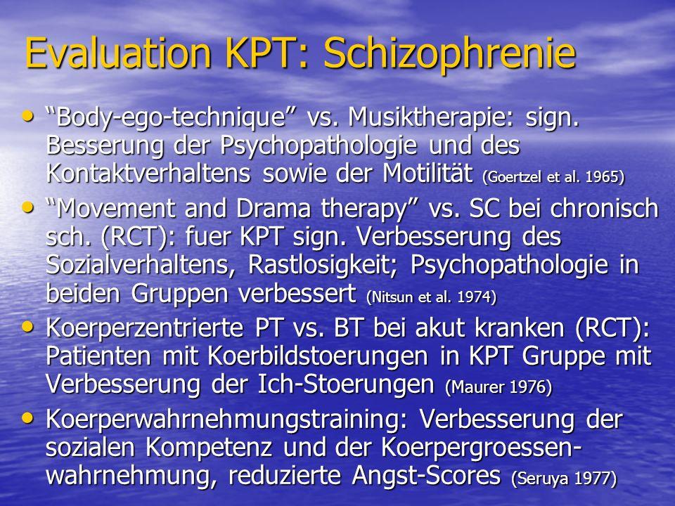 Evaluation KPT: Schizophrenie Body-ego-technique vs. Musiktherapie: sign. Besserung der Psychopathologie und des Kontaktverhaltens sowie der Motilität