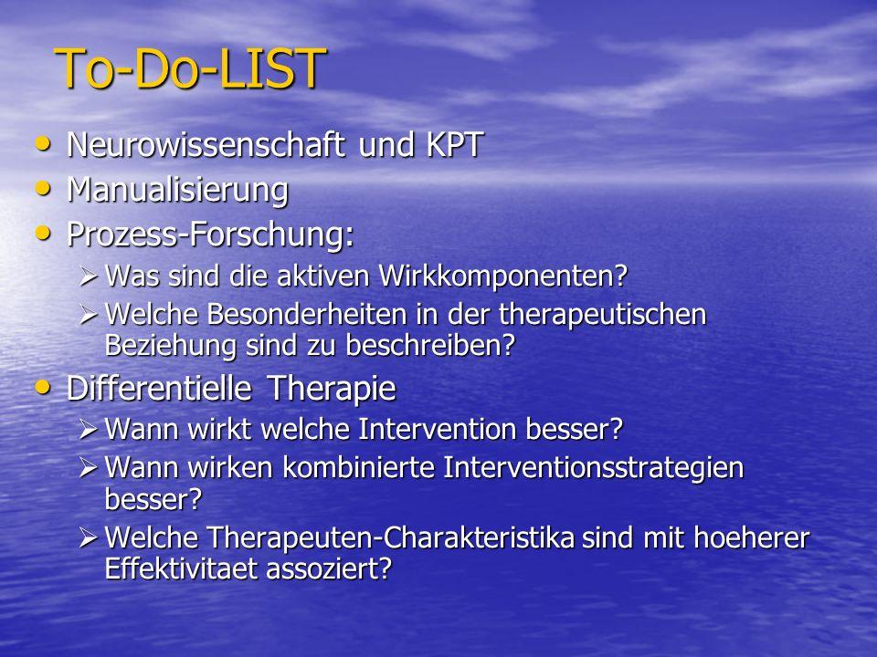 To-Do-LIST Neurowissenschaft und KPT Neurowissenschaft und KPT Manualisierung Manualisierung Prozess-Forschung: Prozess-Forschung: Was sind die aktive