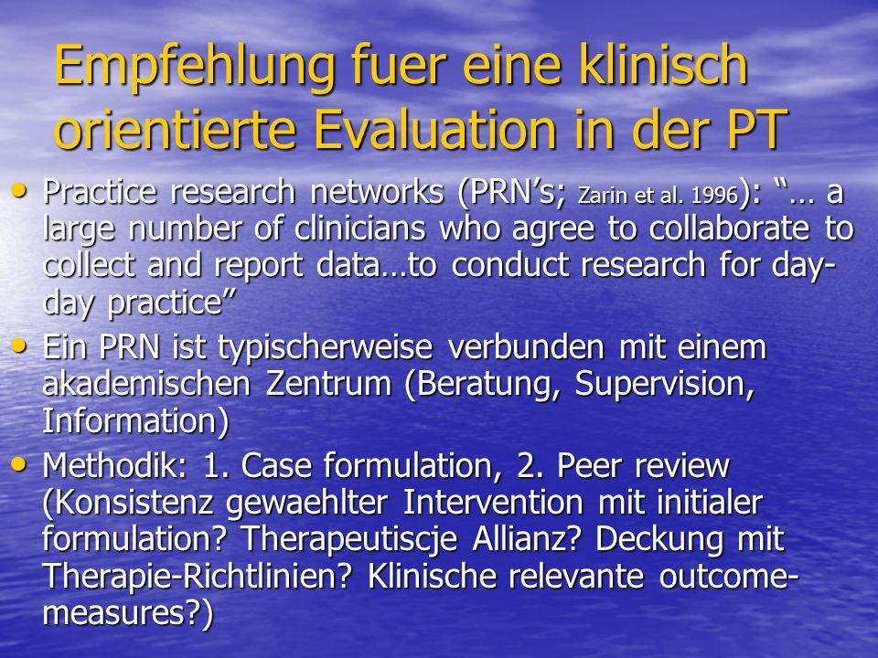 Empfehlung fuer eine klinisch orientierte Evaluation in der PT Practice research networks (PRNs; Zarin et al. 1996 ): … a large number of clinicians w