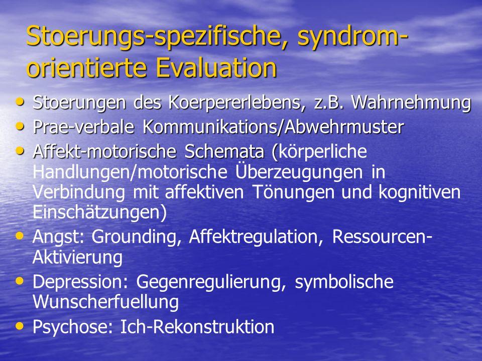 Stoerungs-spezifische, syndrom- orientierte Evaluation Stoerungen des Koerpererlebens, z.B. Wahrnehmung Stoerungen des Koerpererlebens, z.B. Wahrnehmu