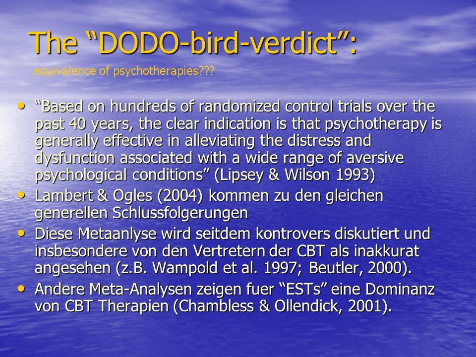 The DODO-bird-verdict: The DODO-bird-verdict: equivalence of psychotherapies??.