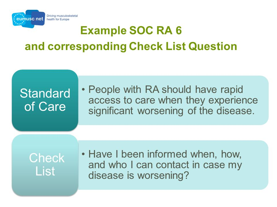 Example SOC RA 6 and corresponding Check List Question People with RA should have rapid access to care when they experience significant worsening of the disease.
