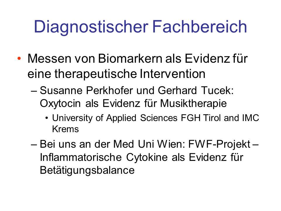 Diagnostischer Fachbereich Messen von Biomarkern als Evidenz für eine therapeutische Intervention –Susanne Perkhofer und Gerhard Tucek: Oxytocin als E