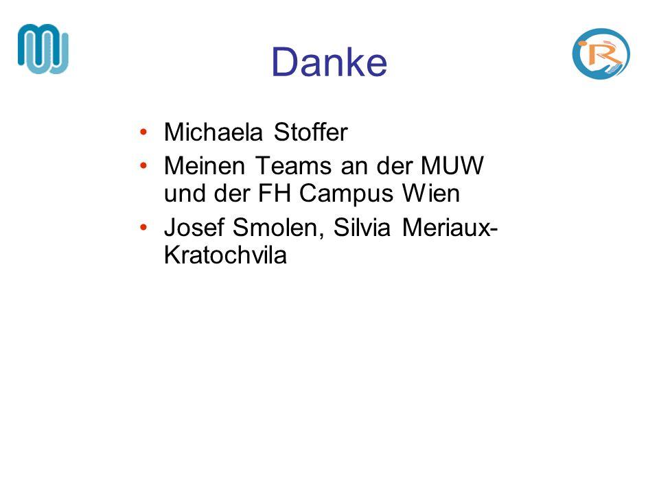 Danke Michaela Stoffer Meinen Teams an der MUW und der FH Campus Wien Josef Smolen, Silvia Meriaux- Kratochvila