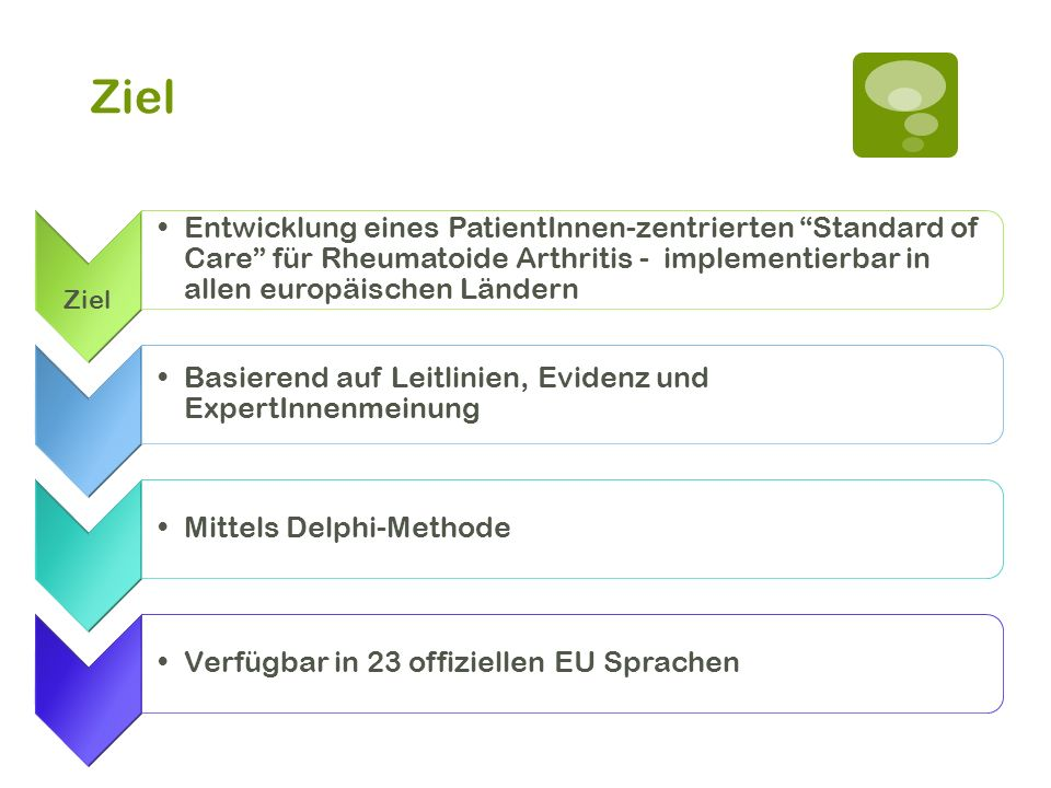 Ziel Entwicklung eines PatientInnen-zentrierten Standard of Care für Rheumatoide Arthritis - implementierbar in allen europäischen Ländern Basierend a