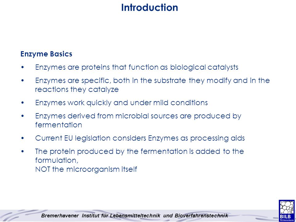 Introduction Enzyme Basics Enzymes are proteins that function as biological catalysts Enzymes are specific, both in the substrate they modify and in t