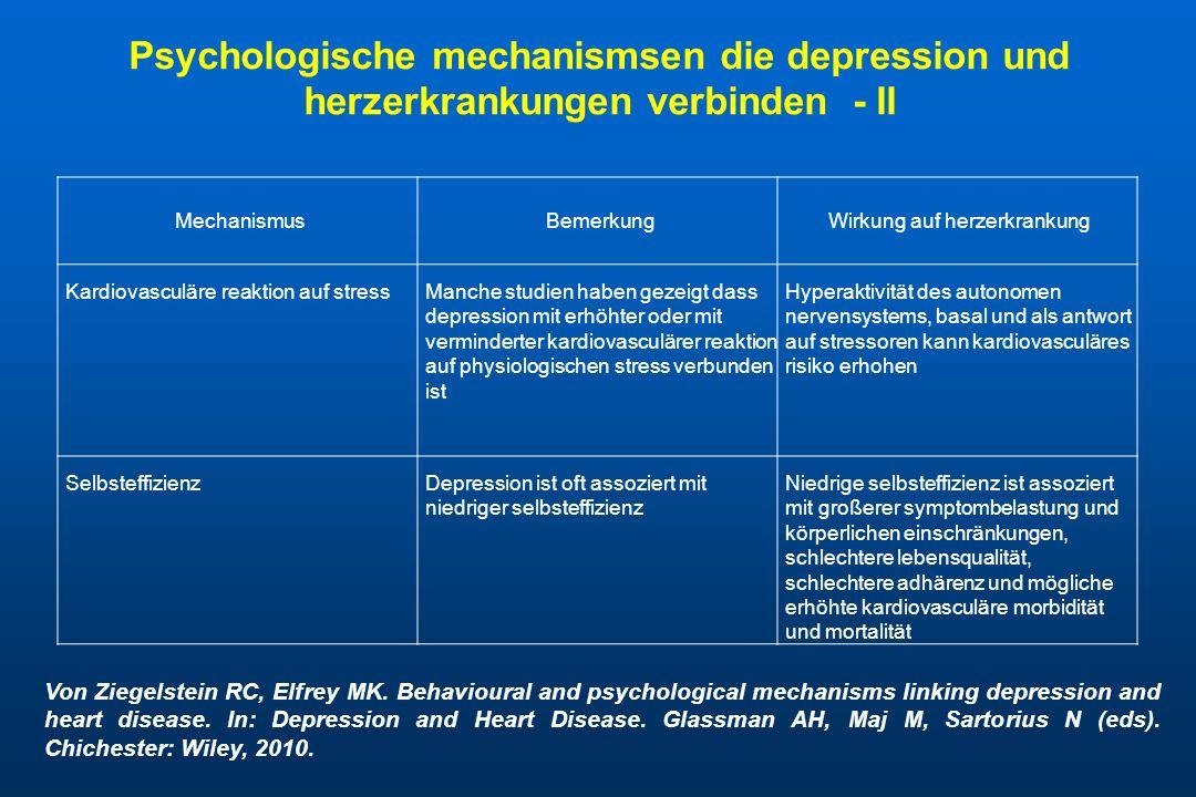 Psychologische mechanismsen die depression und herzerkrankungen verbinden - II MechanismusBemerkungWirkung auf herzerkrankung Kardiovasculäre reaktion