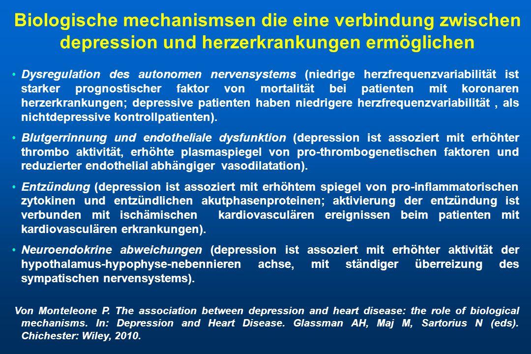 Biologische mechanismsen die eine verbindung zwischen depression und herzerkrankungen ermöglichen Dysregulation des autonomen nervensystems (niedrige
