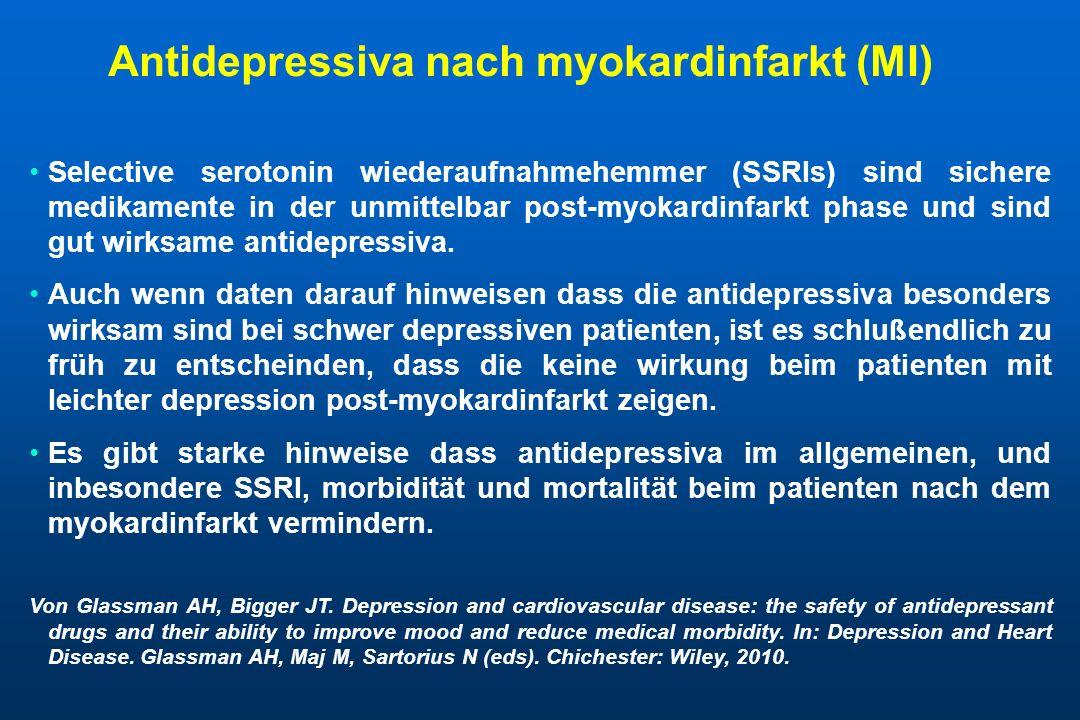 Antidepressiva nach myokardinfarkt (MI) Selective serotonin wiederaufnahmehemmer (SSRIs) sind sichere medikamente in der unmittelbar post-myokardinfar