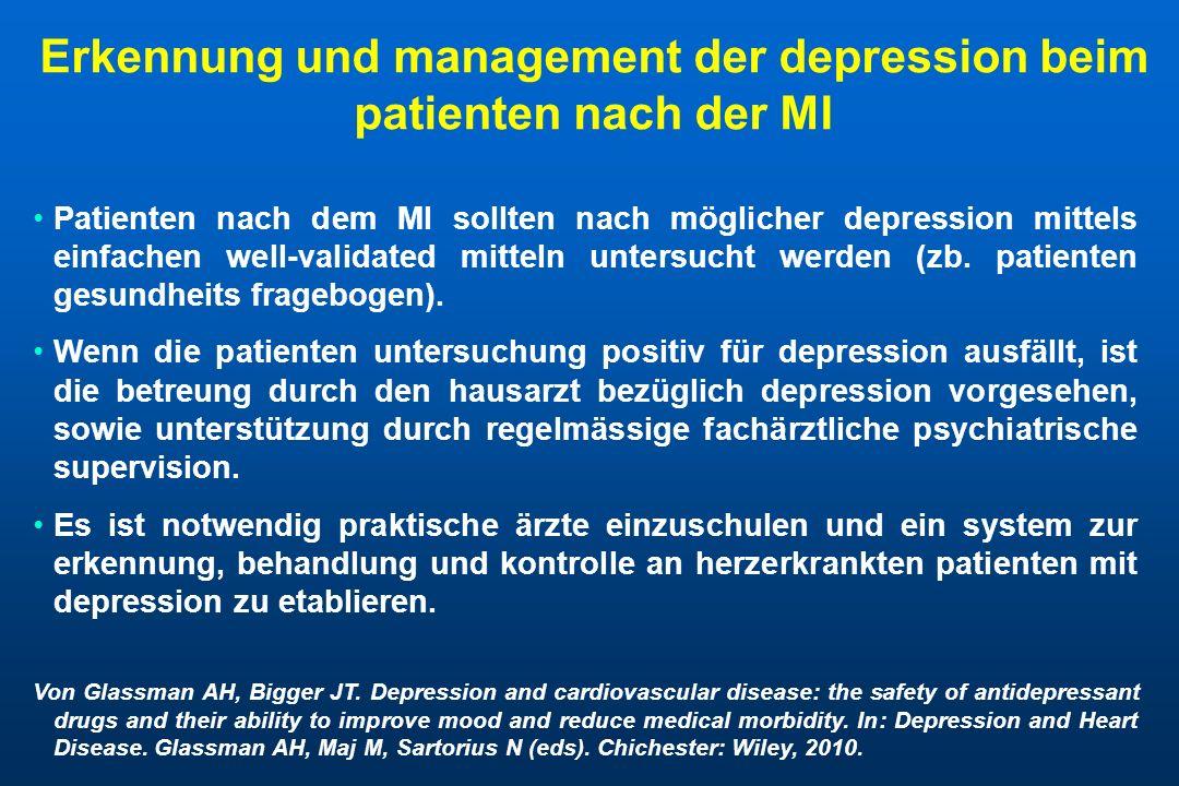 Erkennung und management der depression beim patienten nach der MI Patienten nach dem MI sollten nach möglicher depression mittels einfachen well-vali