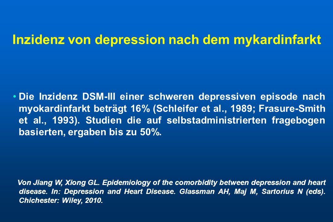Inzidenz von depression nach dem mykardinfarkt Die Inzidenz DSM-III einer schweren depressiven episode nach myokardinfarkt beträgt 16% (Schleifer et a