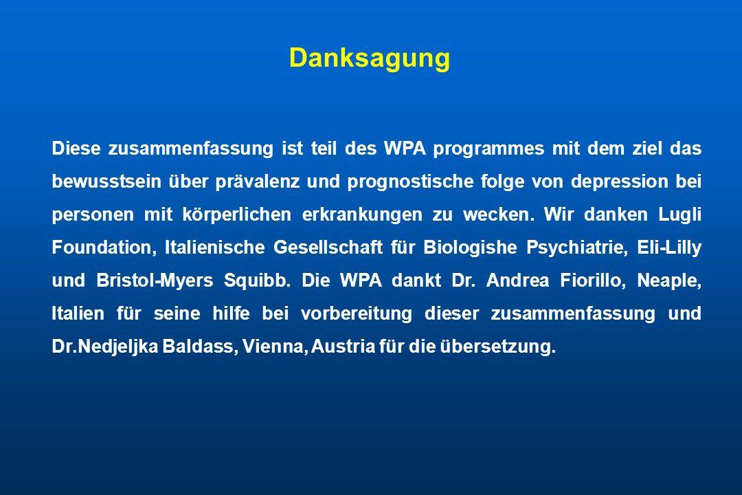 Diese zusammenfassung ist teil des WPA programmes mit dem ziel das bewusstsein über prävalenz und prognostische folge von depression bei personen mit