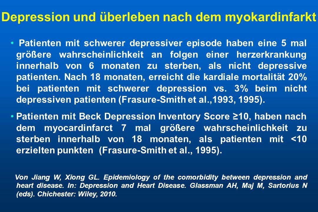 Kumulativmortalität ist signifikant höher bei depressiven im vergleich zu nicht depressiven patienten nach myokardinfarkt.