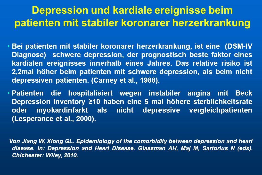 Depression als risikofaktor für die entwicklung einer koronaren herzerkrankung Klinische depression ist assoziert mit fast 2-fach höherem risiko einer nachfolgenden koronaren herzerkrankung.