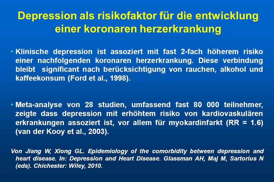 Verhaltenmechanismen die depression und herzerkrankungen verbinden - I MechanismusBemerkungWirkung auf Herzerkrankung SchlafstörungOft beim depressiven erkrankungen; kann durch symptomen der herzerkrankung verstärkt sein Führt zu autonomen hyperaktivität verknüpft mit übergewicht, diabetes, hypertonie und metabolischenmsyndrom Körperliche inaktivitätOft beim depressionErhöht kardiovaskuläre morbidität und mortalität Zigaretten rauchenDepressive menschen rauchen mehr, und depressive raucher wollen weniger mit dem rauchen aufhören Erhöht kardiovasckuläre morbidität und mortalität Von Ziegelstein RC, Elfrey MK.