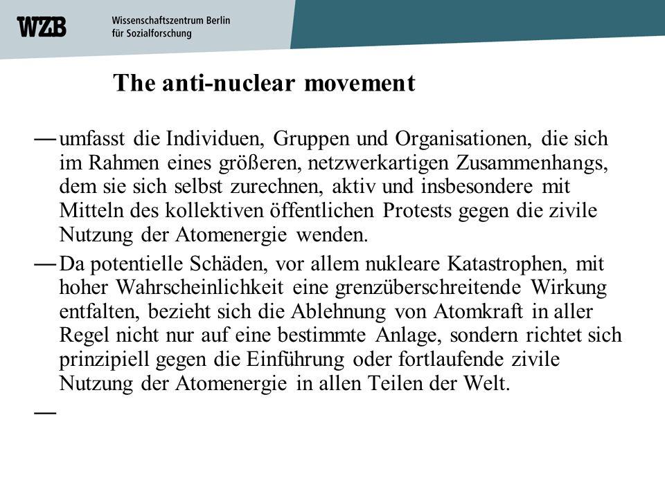 The anti-nuclear movement umfasst die Individuen, Gruppen und Organisationen, die sich im Rahmen eines größeren, netzwerkartigen Zusammenhangs, dem si