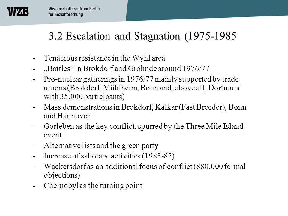 3.2 Escalation and Stagnation (1975-1985 -Tenacious resistance in the Wyhl area -Battles in Brokdorf and Grohnde around 1976/77 -Pro-nuclear gathering