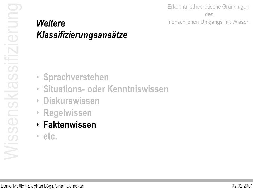 Daniel Mettler, Stephan Bögli, Sinan Demokan02.02.2001 Erkenntnistheoretische Grundlagen des menschlichen Umgangs mit Wissen Wissensklassifizierung We