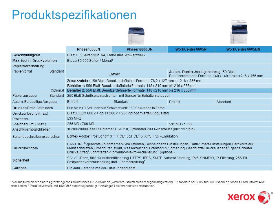 Produktspezifikationen Phaser 6600NPhaser 6600DNWorkCentre 6605NWorkCentre 6605DN GeschwindigkeitBis zu 35 Seiten/Min. A4, Farbe und Schwarzweiß Max.