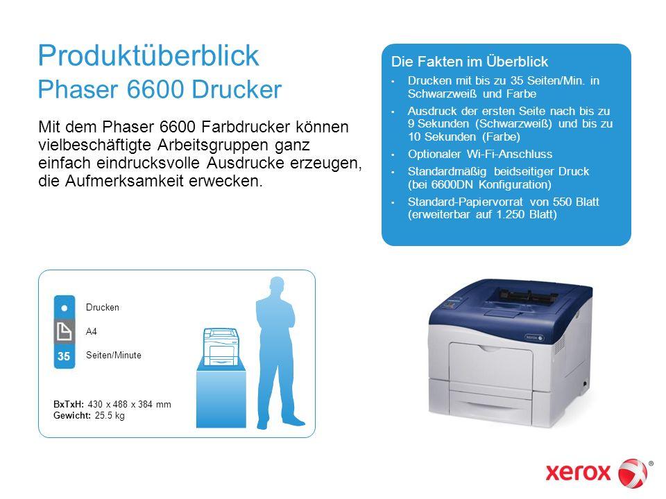 Produktüberblick Phaser 6600 Drucker Mit dem Phaser 6600 Farbdrucker können vielbeschäftigte Arbeitsgruppen ganz einfach eindrucksvolle Ausdrucke erze